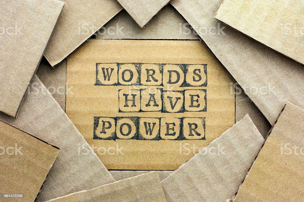 Cardboard card with phrase Words Have Power stock photo