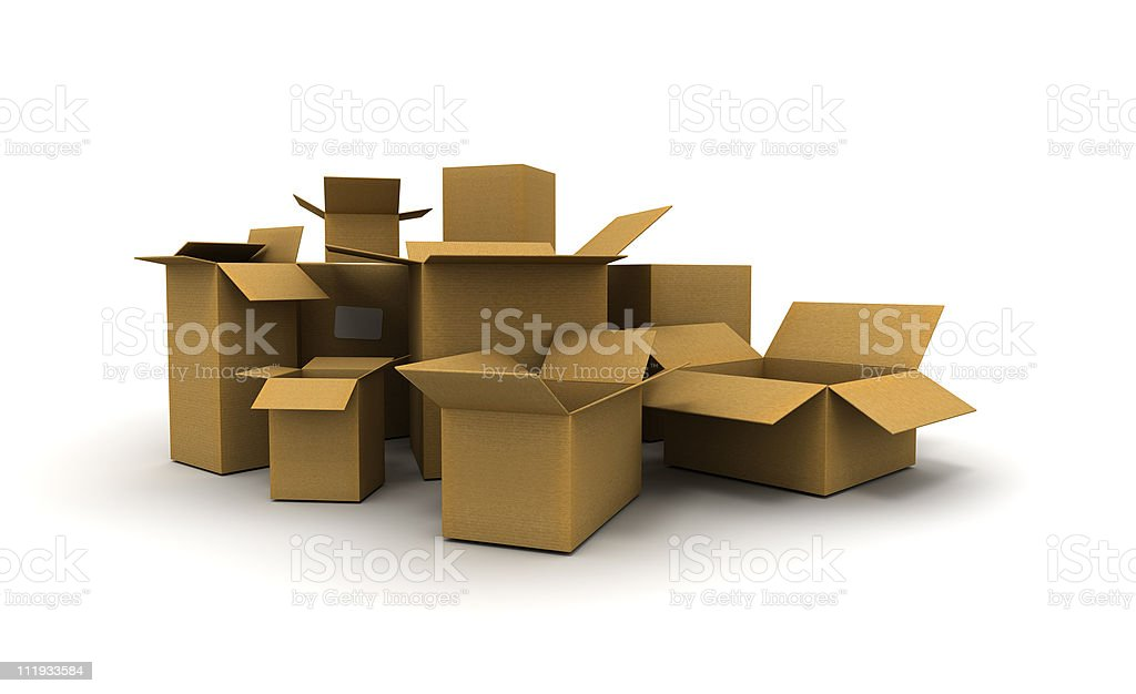 Cardboard cartons lateral view stock photo