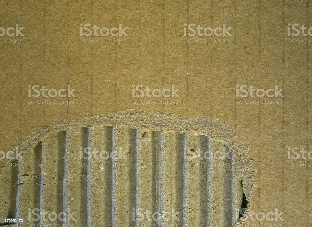 Cardboard corrugated and teared texture. stock photo