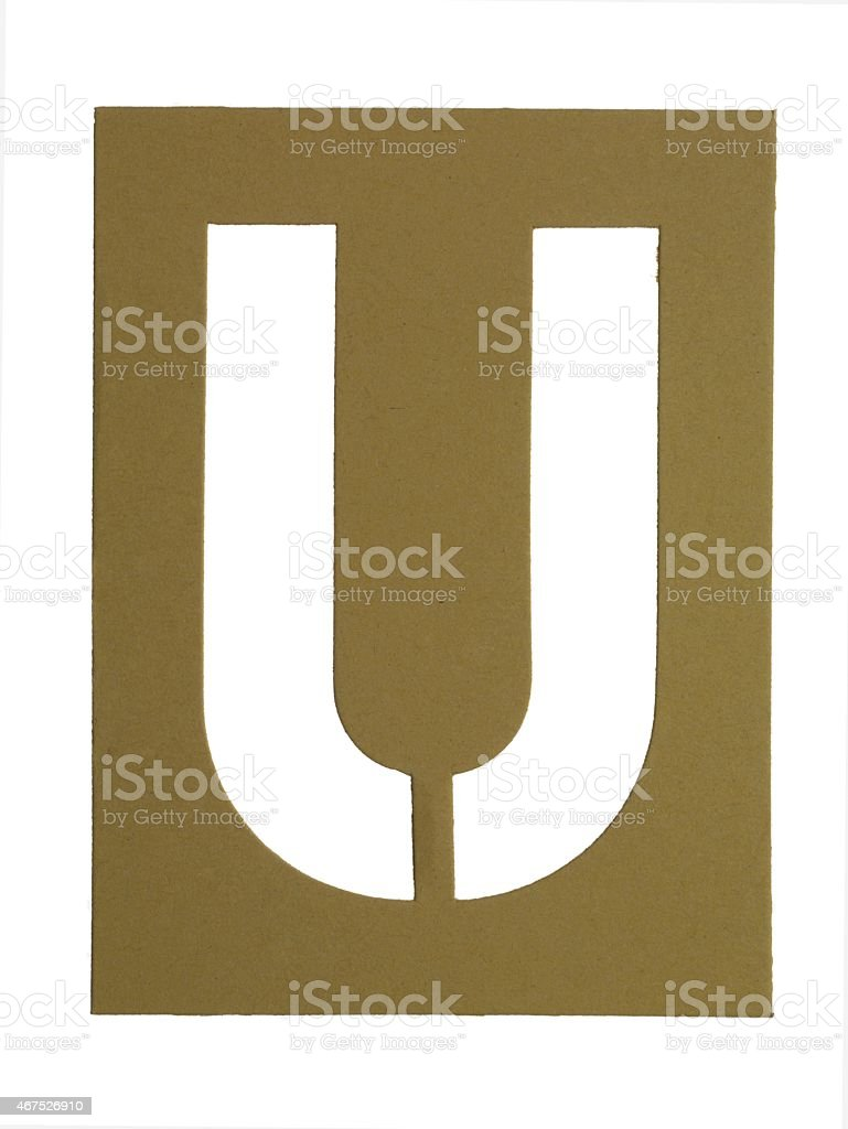 cardboard cut out letter u stock photo