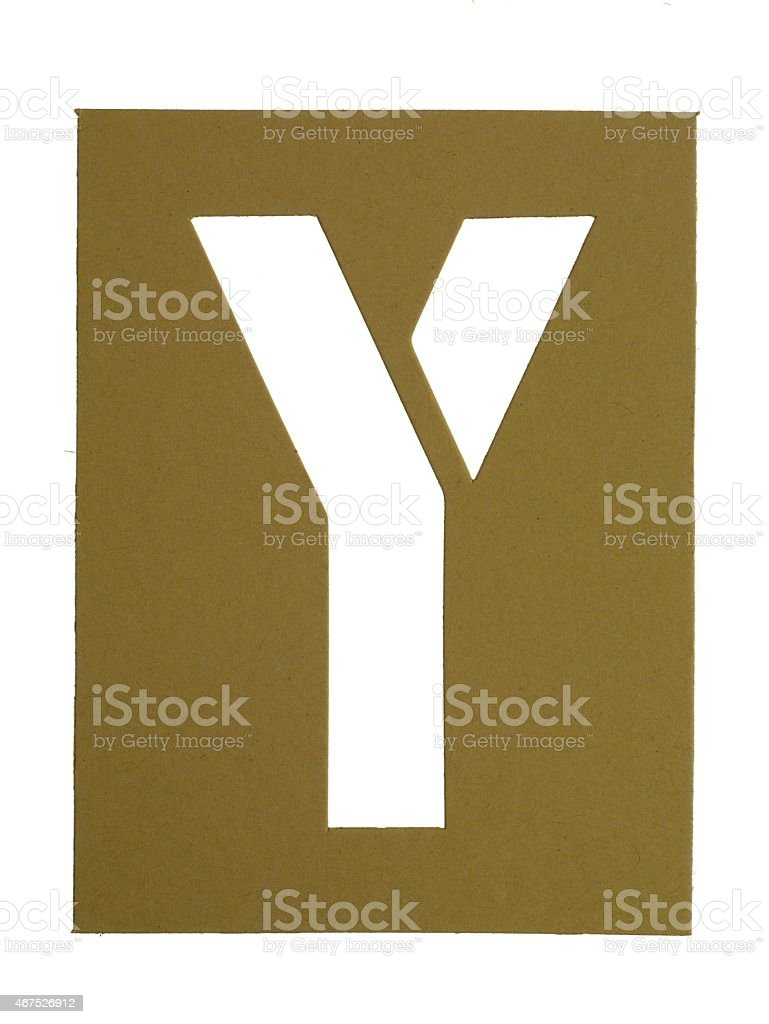 cardboard cut out letter y stock photo