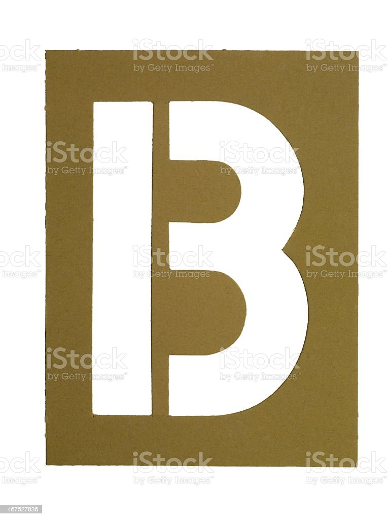 cardboard cut out with letter b stock photo