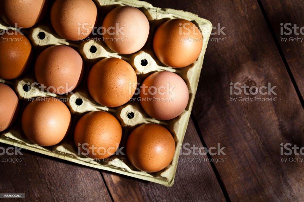 Cardboard eggs package stock photo