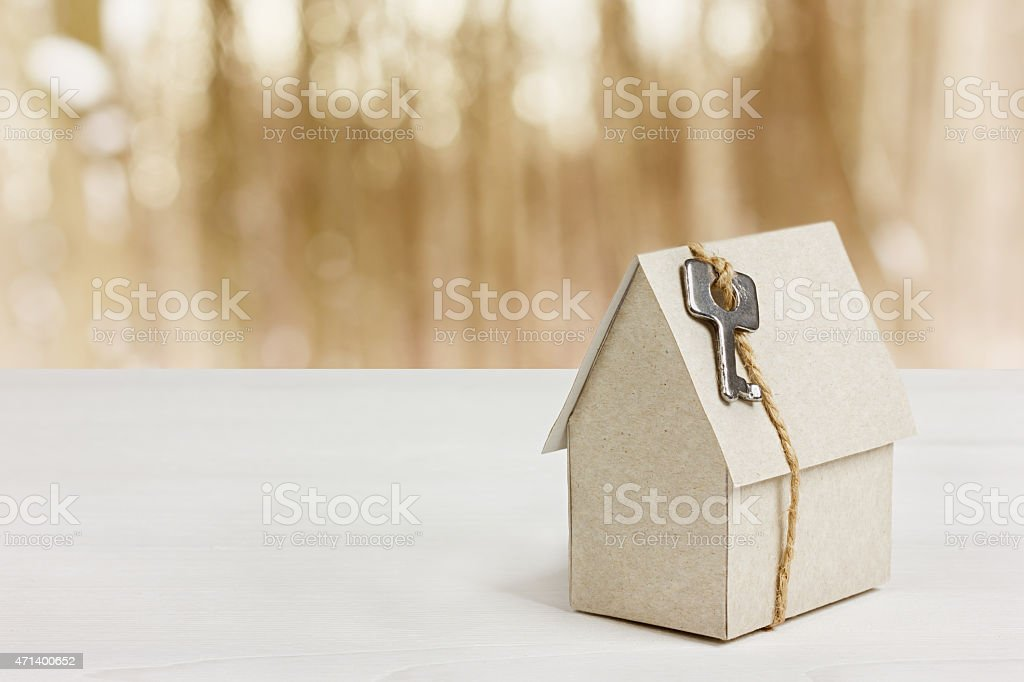 cardboard house with key, buying a new home concept stock photo