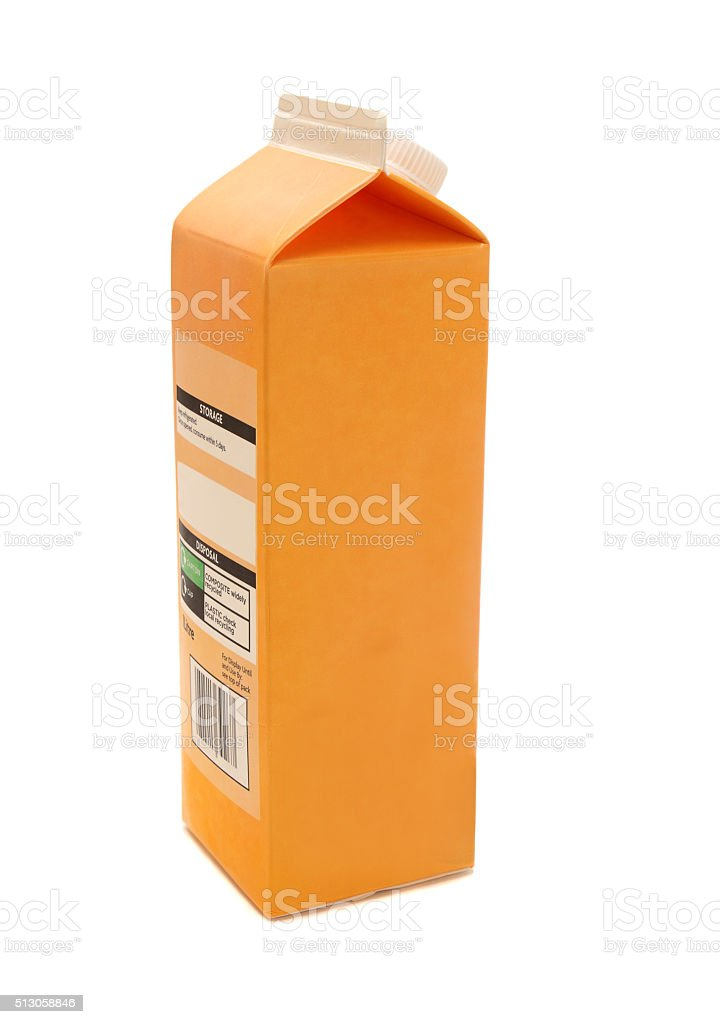 cardboard orange  juice carton - one litre stock photo