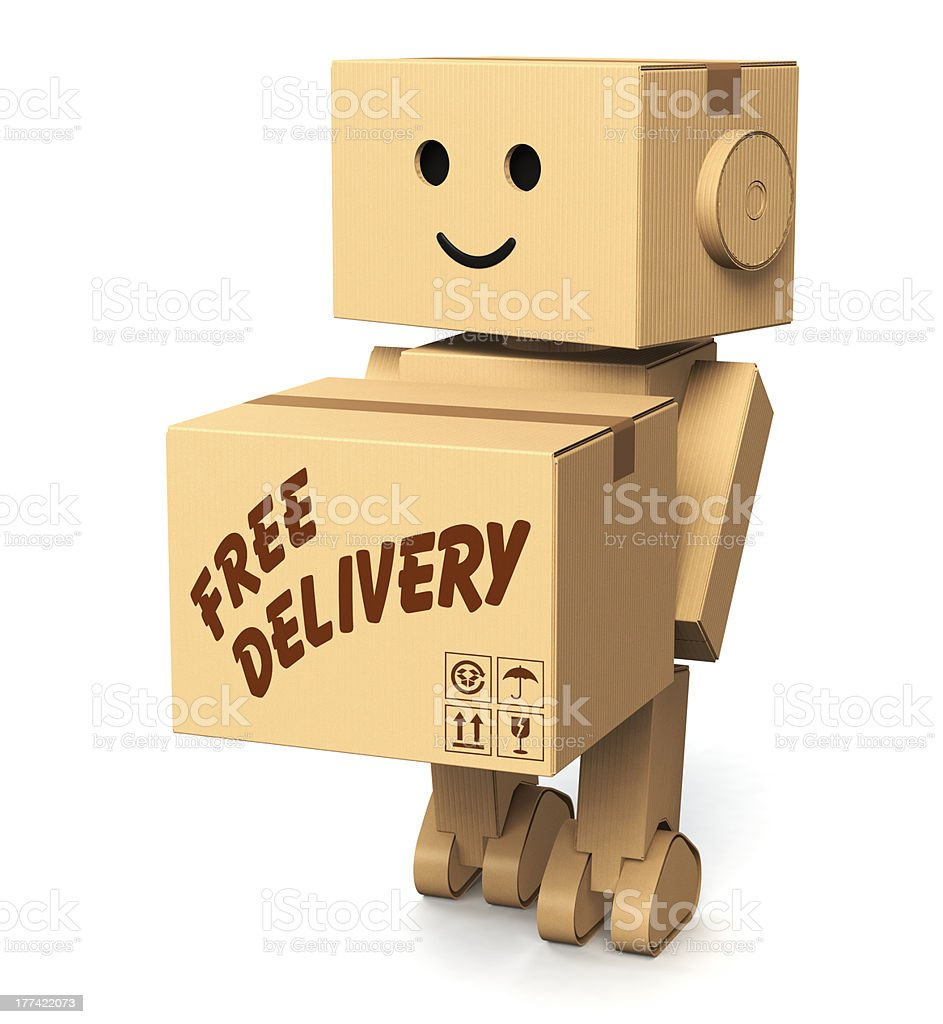 cardboard robot carrying a box royalty-free stock photo