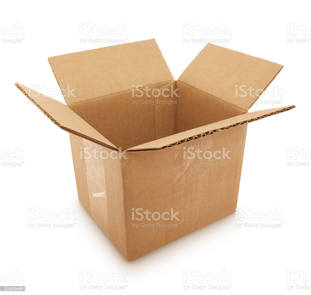 Cardboard Shipping Box (with path) stock photo
