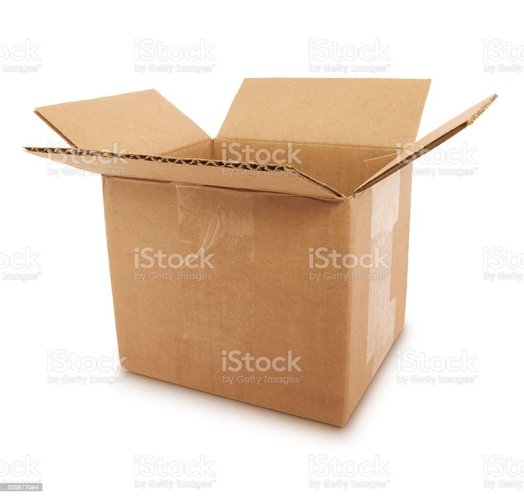 Cardboard Shipping Box (with path) stock photo