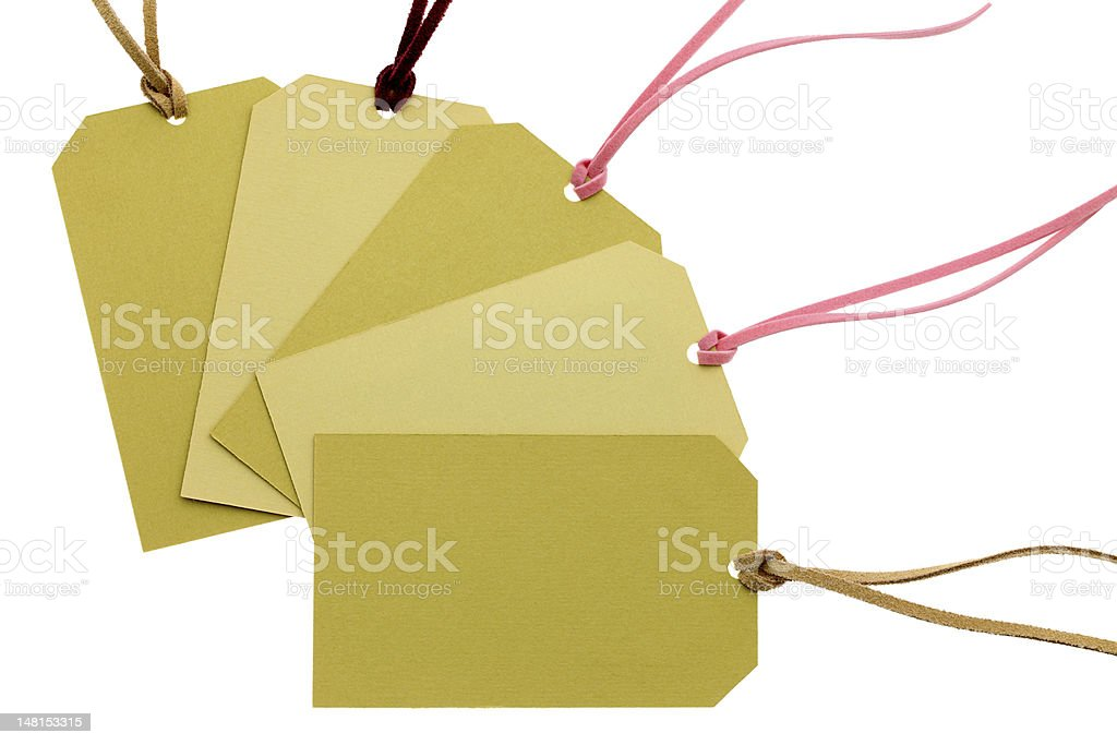 cardboard tag with leather string stock photo