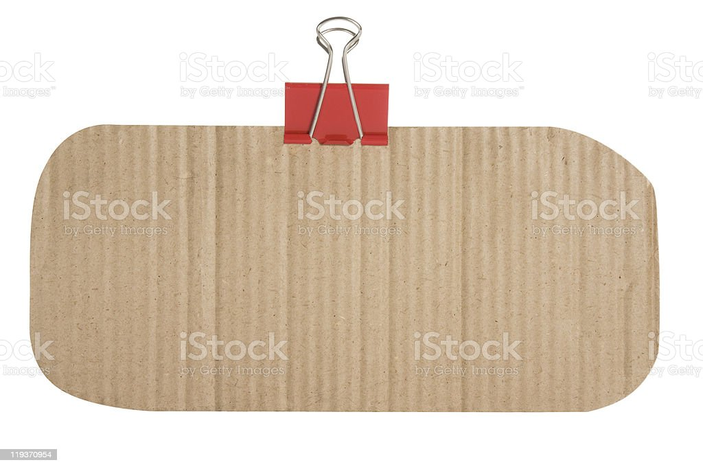 Cardboard texture and binder clip royalty-free stock photo