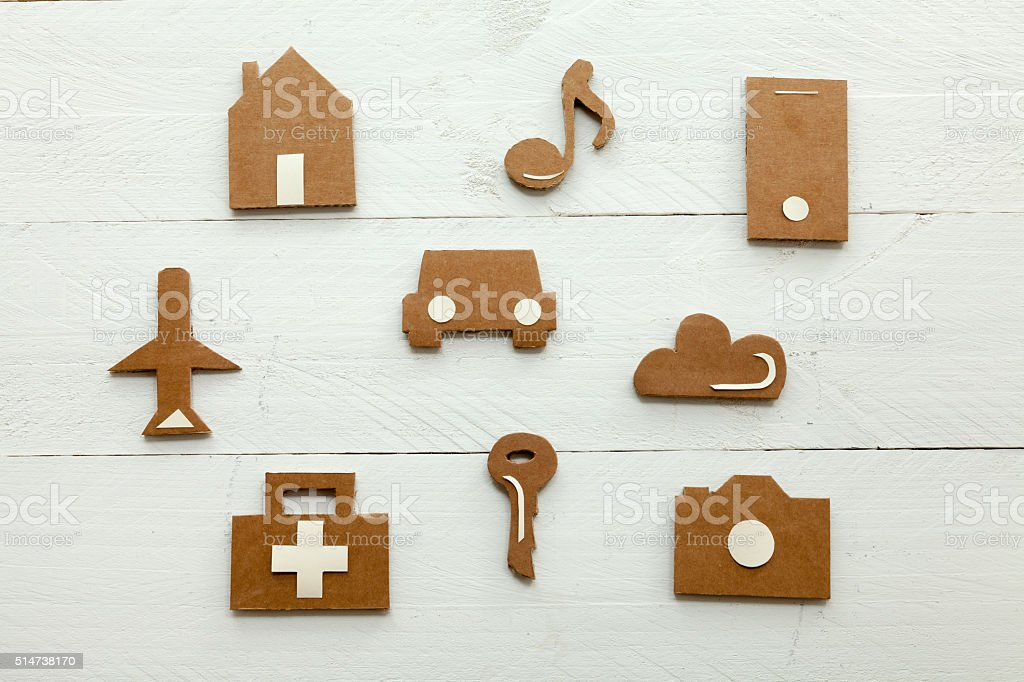Cardboard web icons on white background stock photo