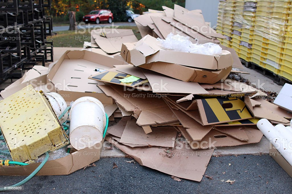 Cardboards and other trash stock photo