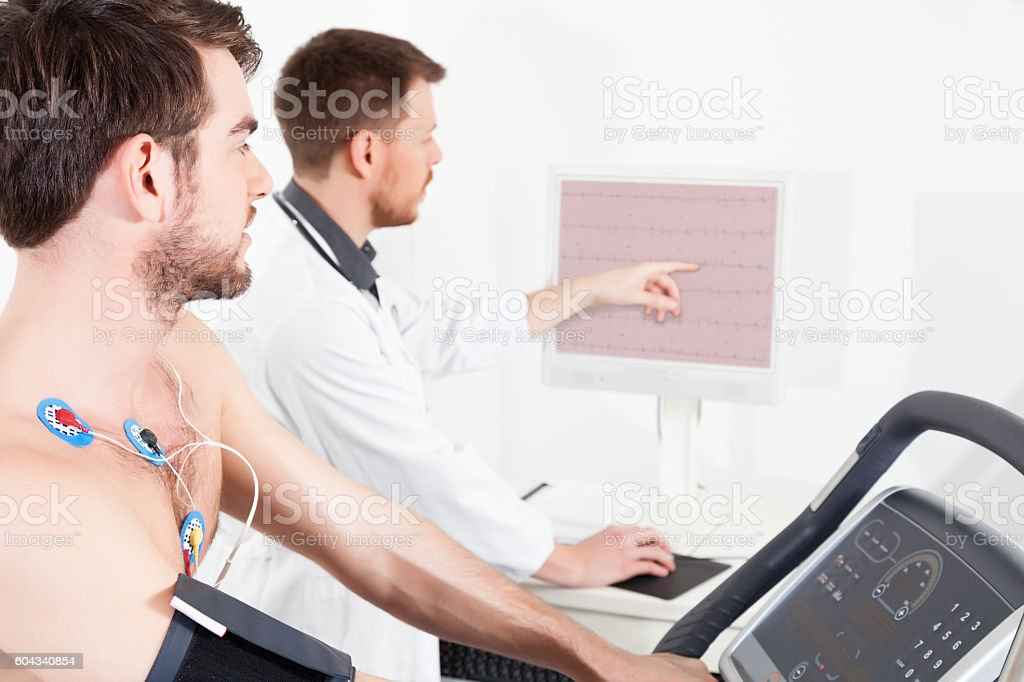 cardiac stress test ECG tracings stock photo
