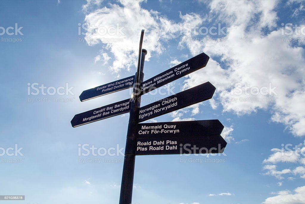 Cardiff Bay - Directions stock photo
