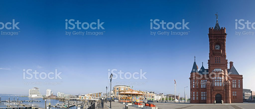 Cardiff bay in Wales on a clear day stock photo