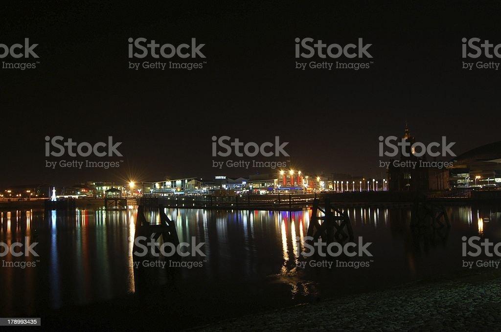 cardiff bay pier marina stock photo