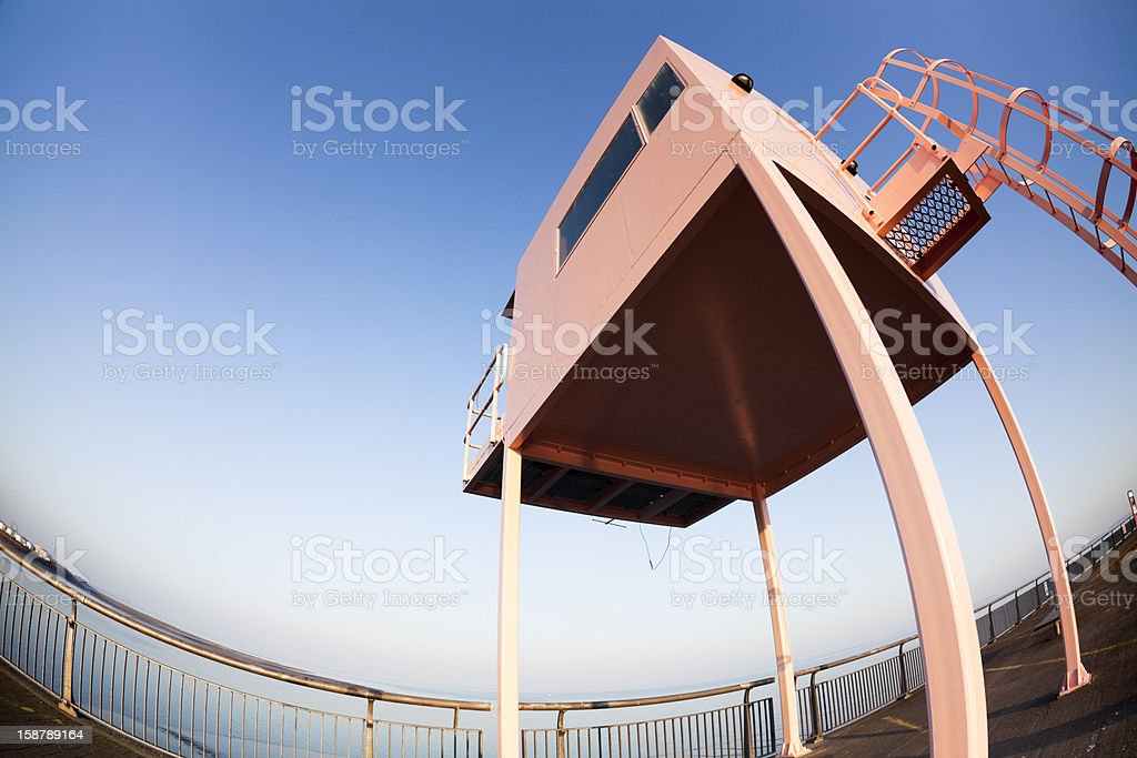 Cardiff Bay Pink Lookout Tower stock photo