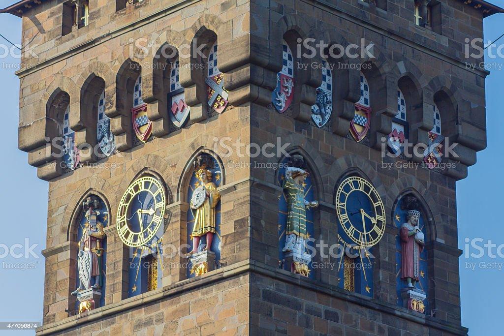 Cardiff Castle Clock Tower stock photo