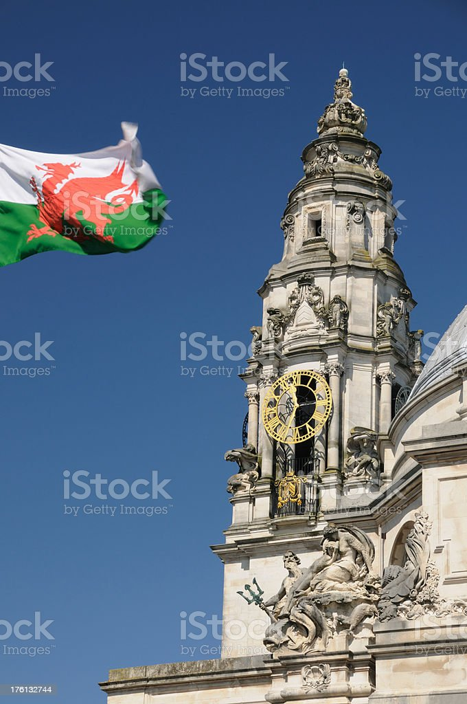 Cardiff City Hall royalty-free stock photo