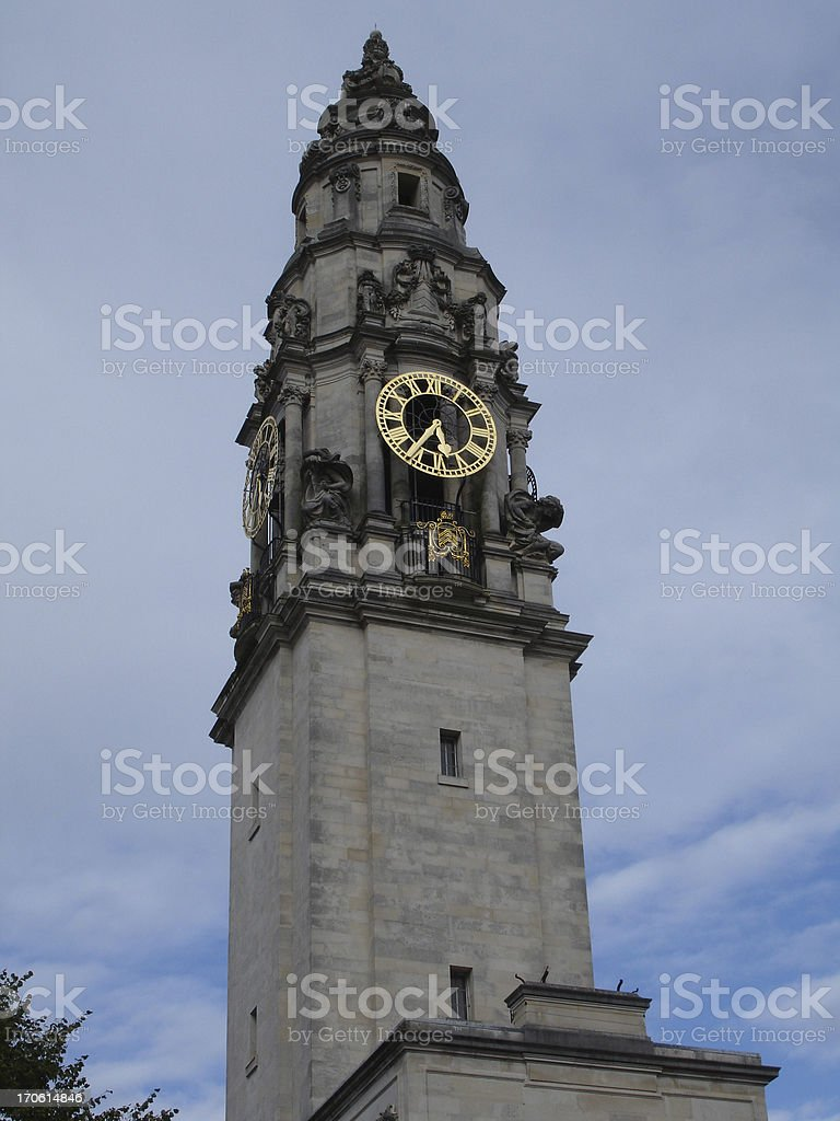 Cardiff City Hall tower with clock face stock photo