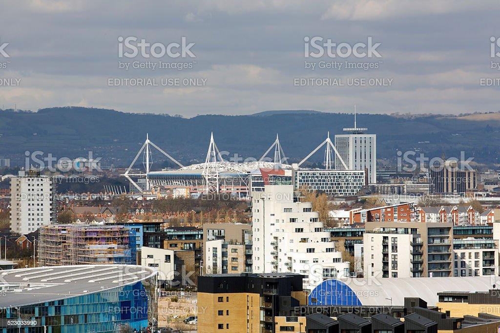 Cardiff Cityscape - Millenium Stadium stock photo