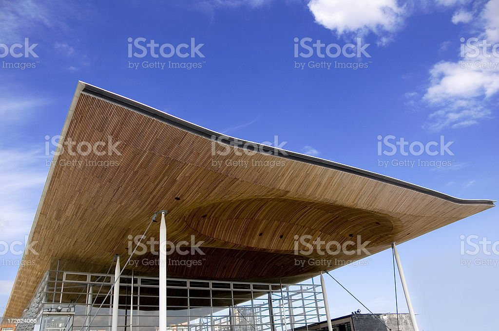cardiff national assembly building stock photo