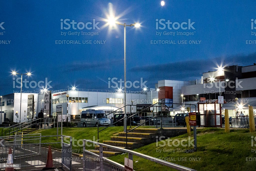 Cardiff Wales Airport at night stock photo