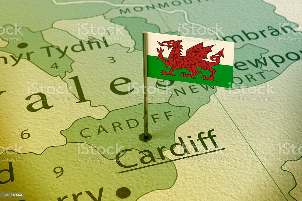 Cardiff Wales Flag Pin Map Vintage stock photo