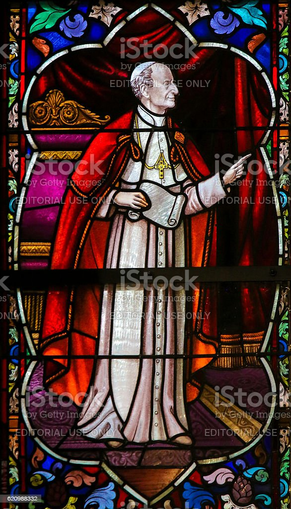 Cardinal Mercier - Stained Glass in Mechelen Cathedral stock photo