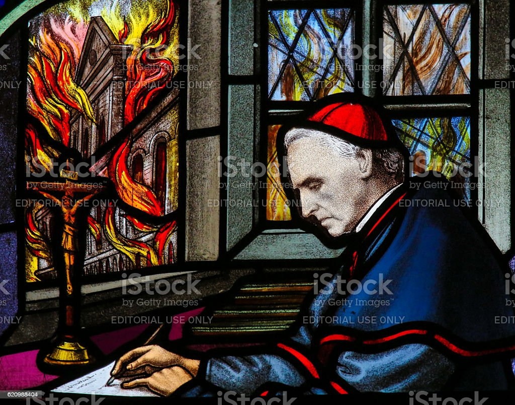 Cardinal Mercier - Stained Glass stock photo