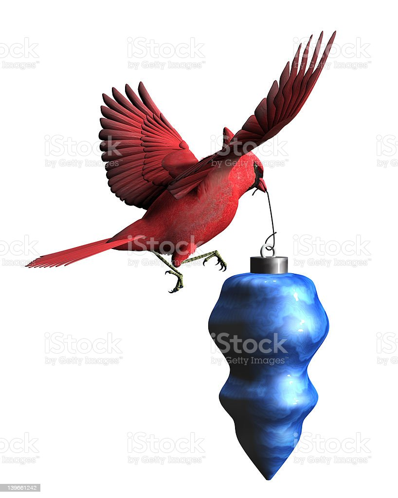 Cardinal with Christmas Ornament stock photo