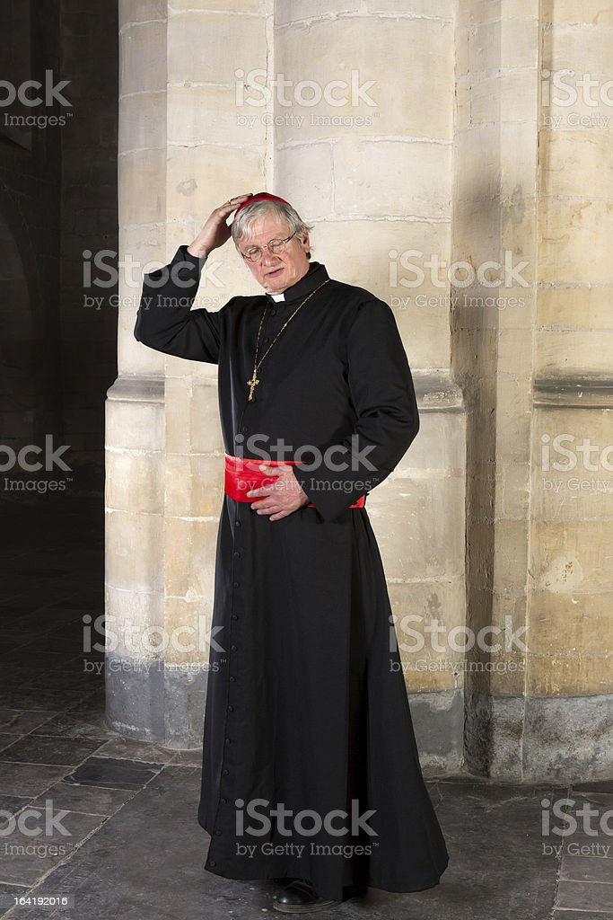Cardinal with zucchetta stock photo