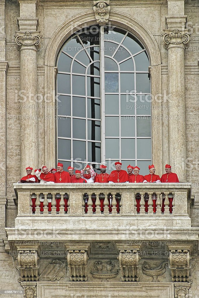 Cardinals on balcony of Saint Peter's Basilica. royalty-free stock photo