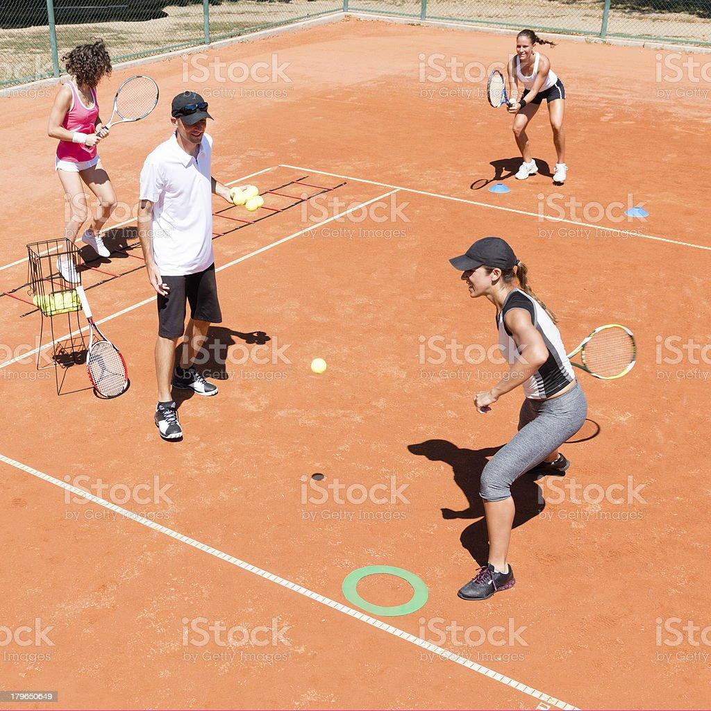 Cardio tennis class royalty-free stock photo