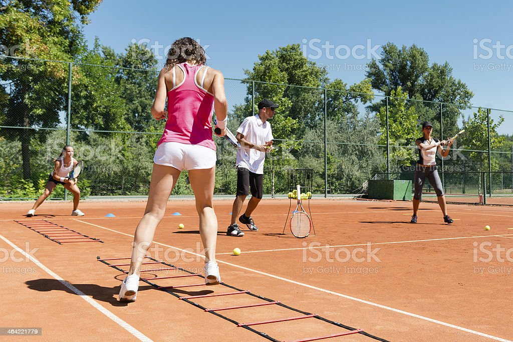 Cardio tennis training royalty-free stock photo