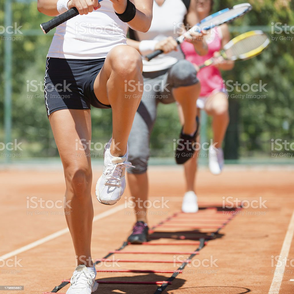 Cardio tennis workout royalty-free stock photo