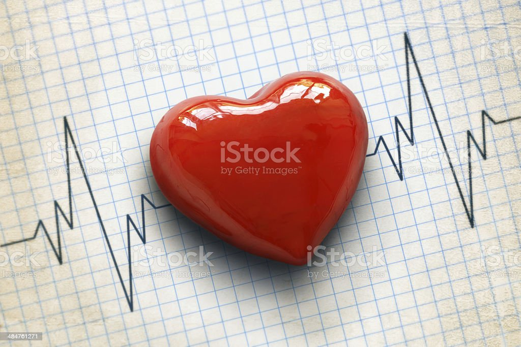 Cardiogram and heart stock photo