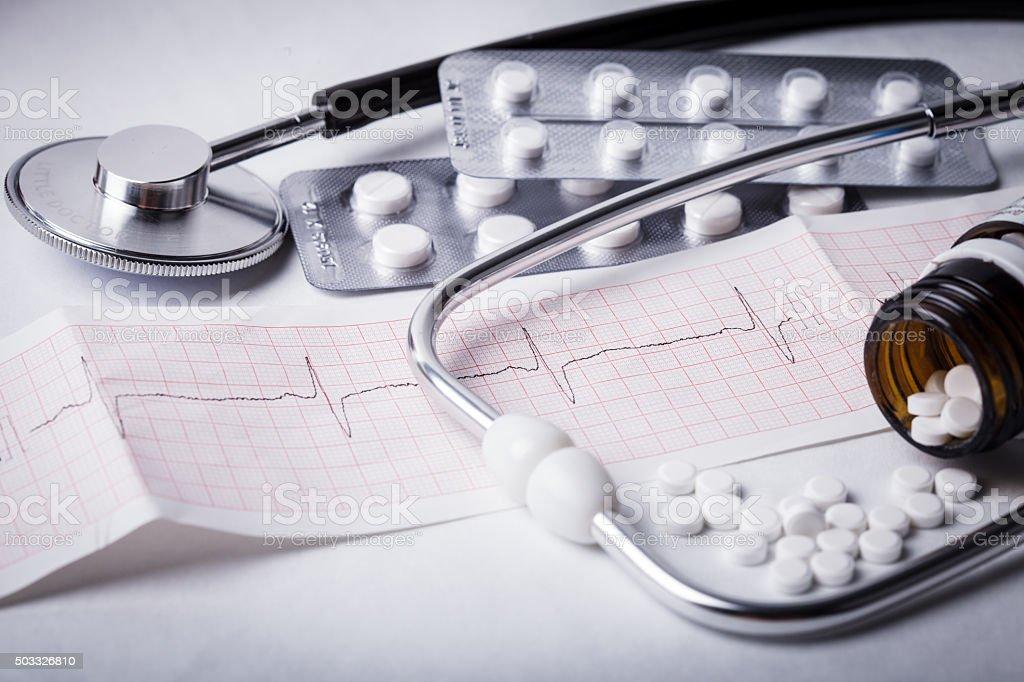 Cardiogram and nitroglycerin stock photo