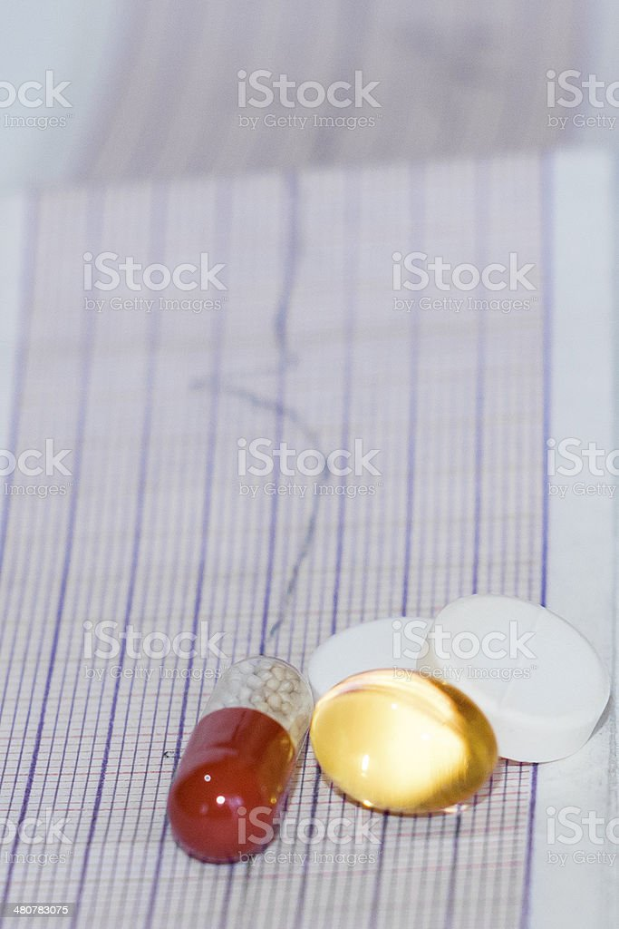 cardiogram pills royalty-free stock photo