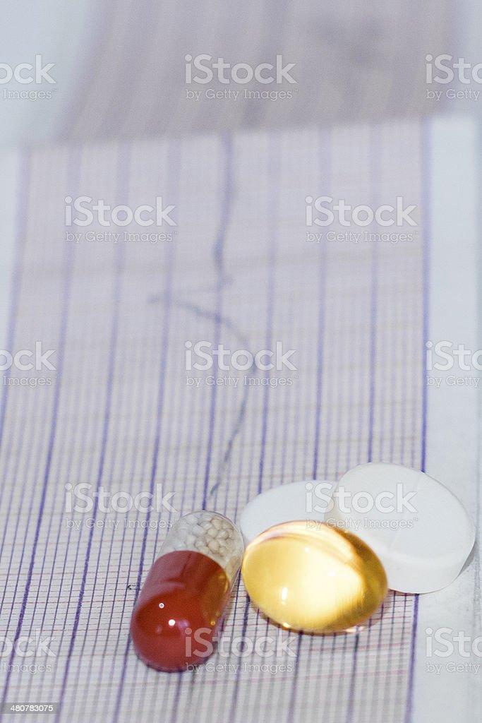 cardiogram pills stock photo