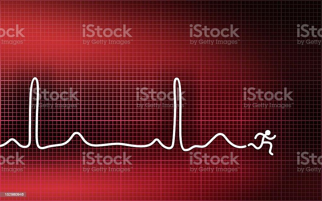 Cardiogram - running man stock photo