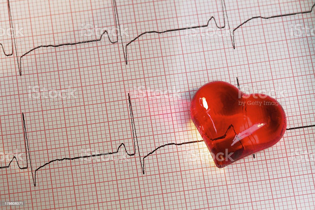 ECG cardiogram with heart of glass royalty-free stock photo