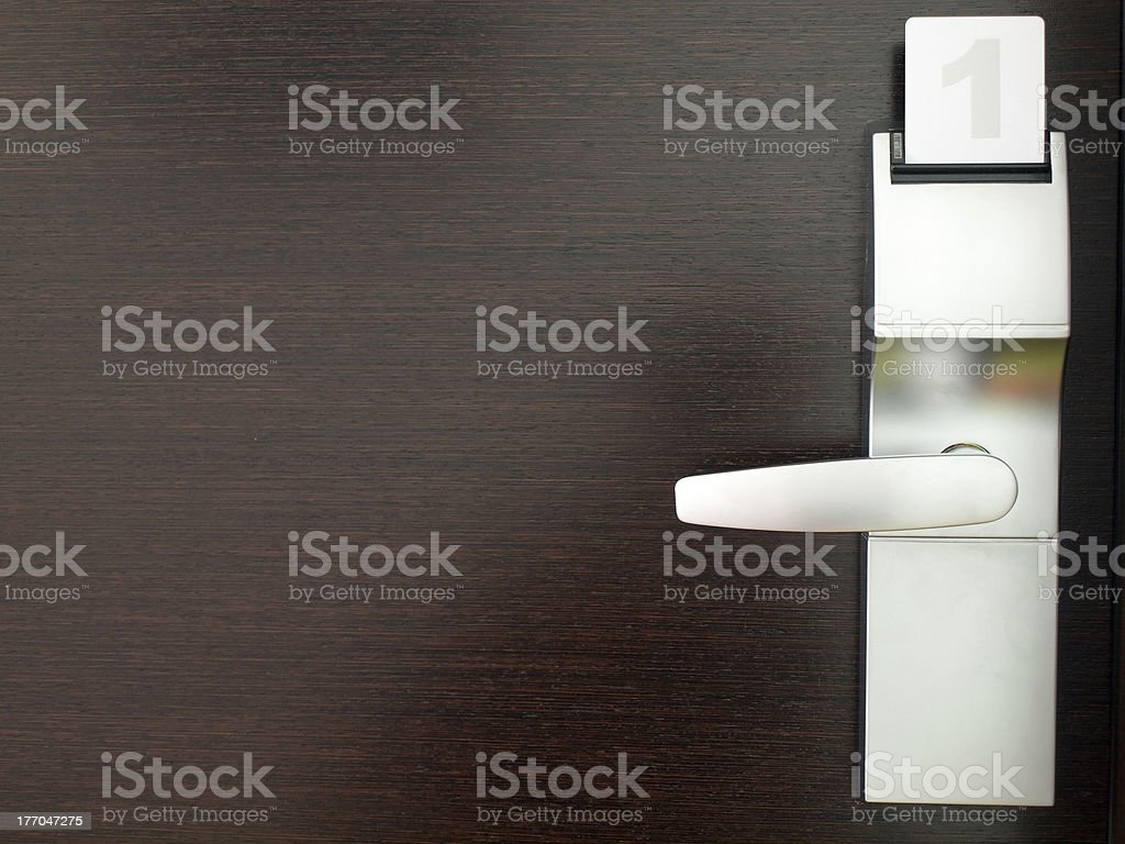 Cardkey in electronic lock stock photo