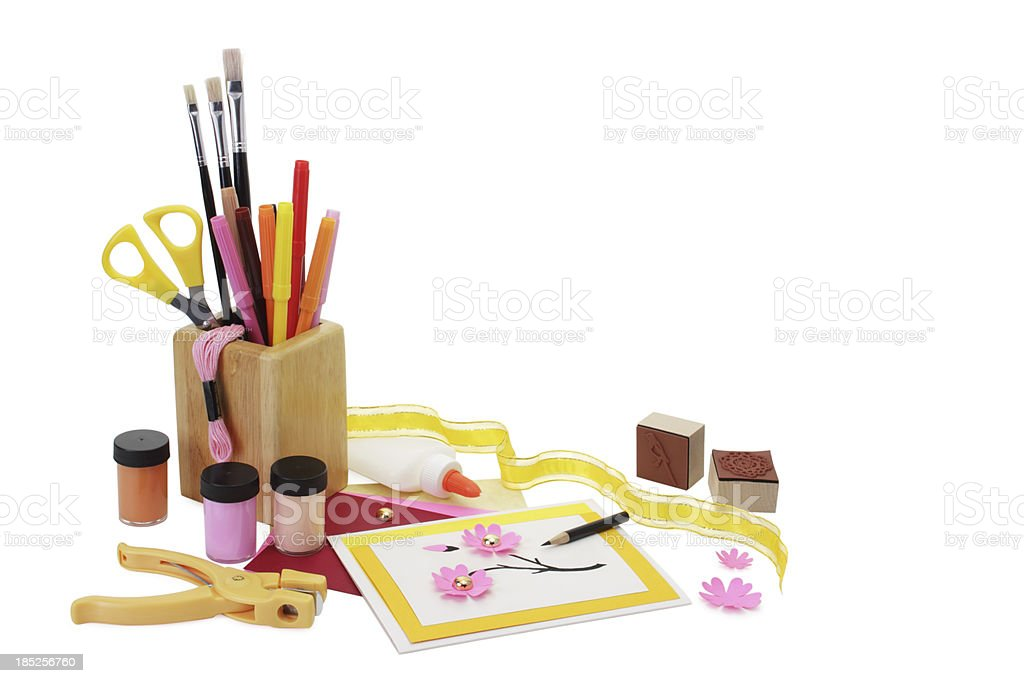 Card-making supplies, isolated royalty-free stock photo
