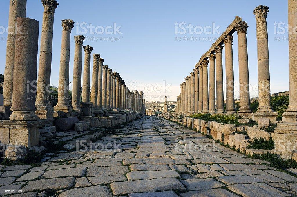 Cardo Maximus  in Jerash. Jordan stock photo