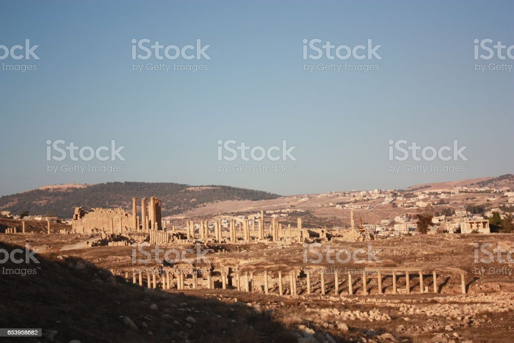 Cardo Maximus of ancient city of Jerash, Jordan Middle East stock photo