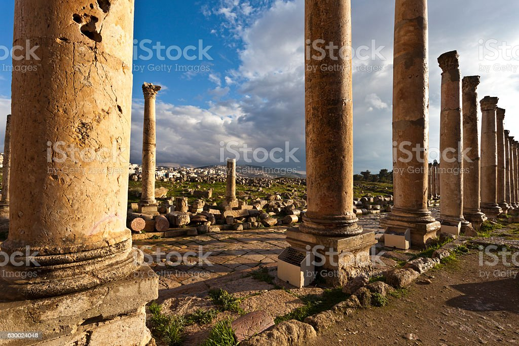 Cardo Maximus street in Jerash in North Jordan, Middle East stock photo
