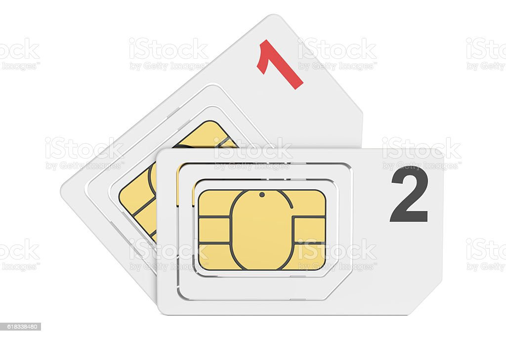 SIM cards, 3D rendering stock photo