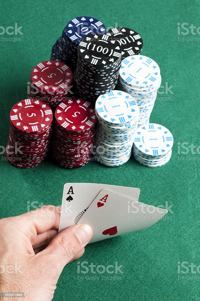 Cards aces and chips royalty-free stock photo