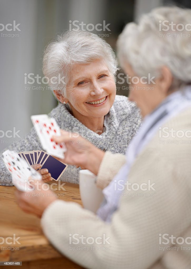 Cards are an excellent way to pass the time! stock photo